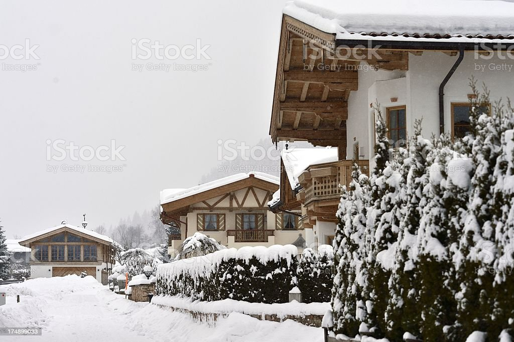 Austrian Village with typical houses royalty-free stock photo