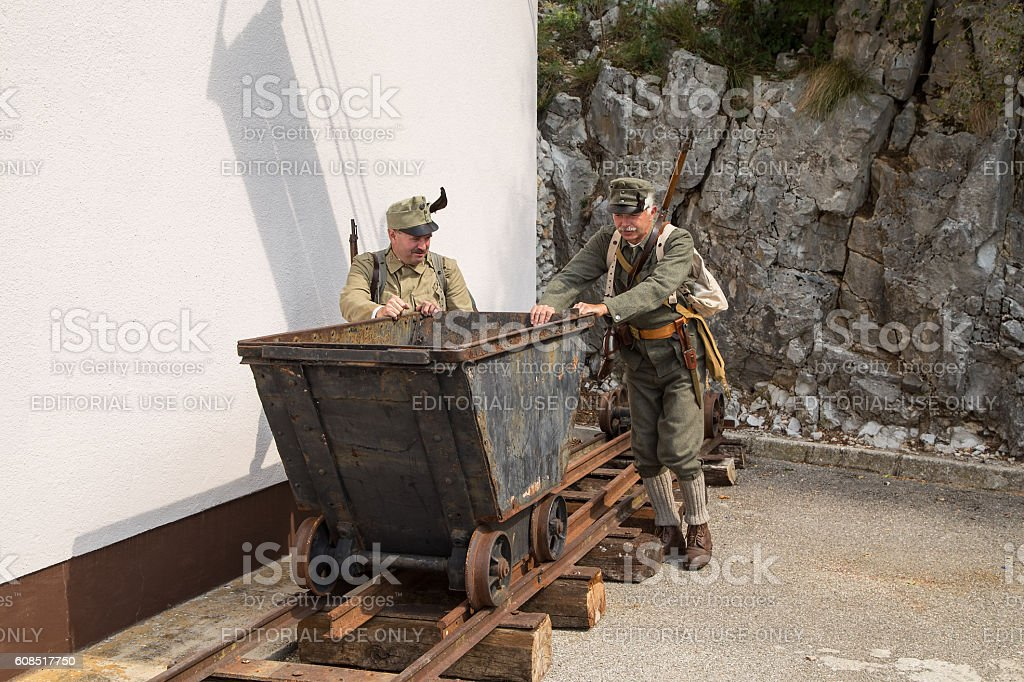 Austro-Hungarian soldiers of the World War one push trolley stock photo