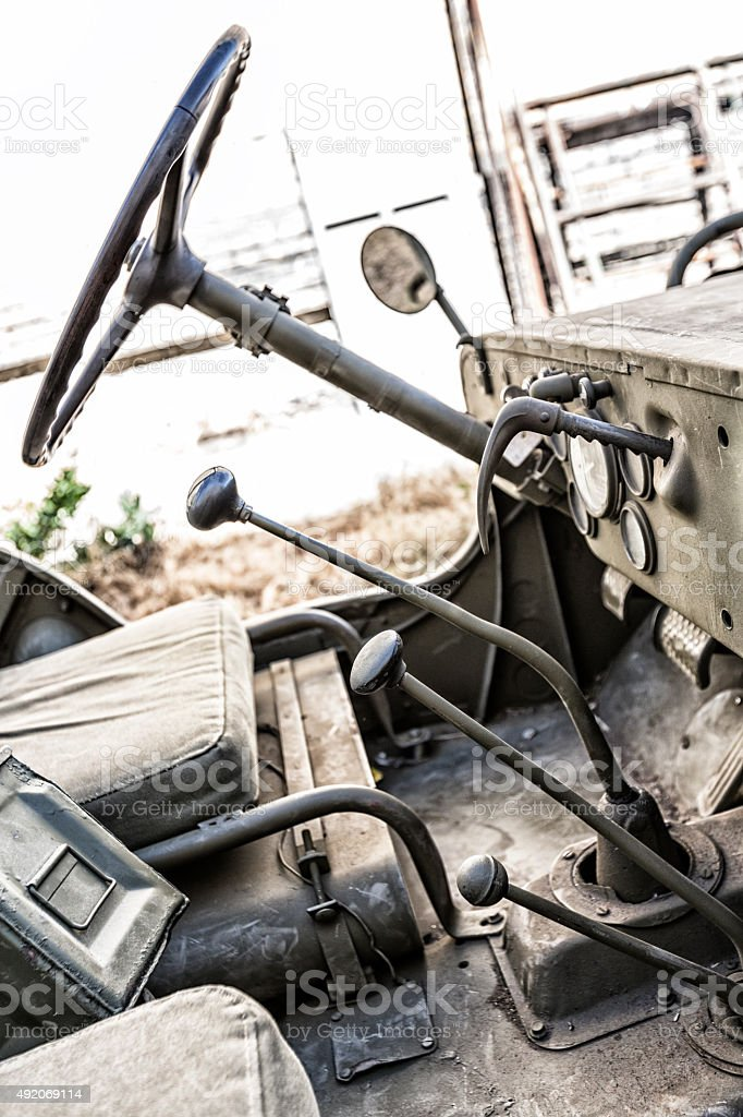 Authentic 1940s WWII Era Military Willys Jeep Interior stock photo