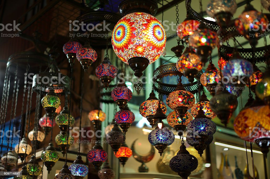 Authentic Asian multicolored lights in the Istanbul market. stock photo