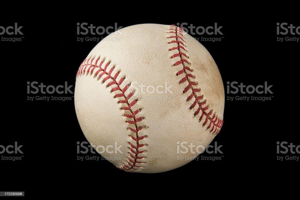 Authentic baseball isolated on black royalty-free stock photo