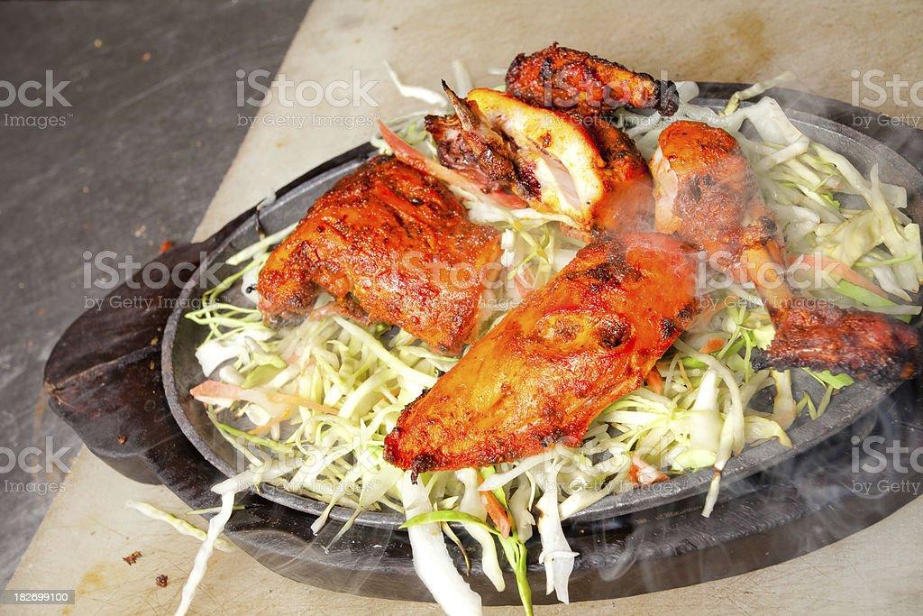 Authentic Chicken Tandoori Hot Plate stock photo