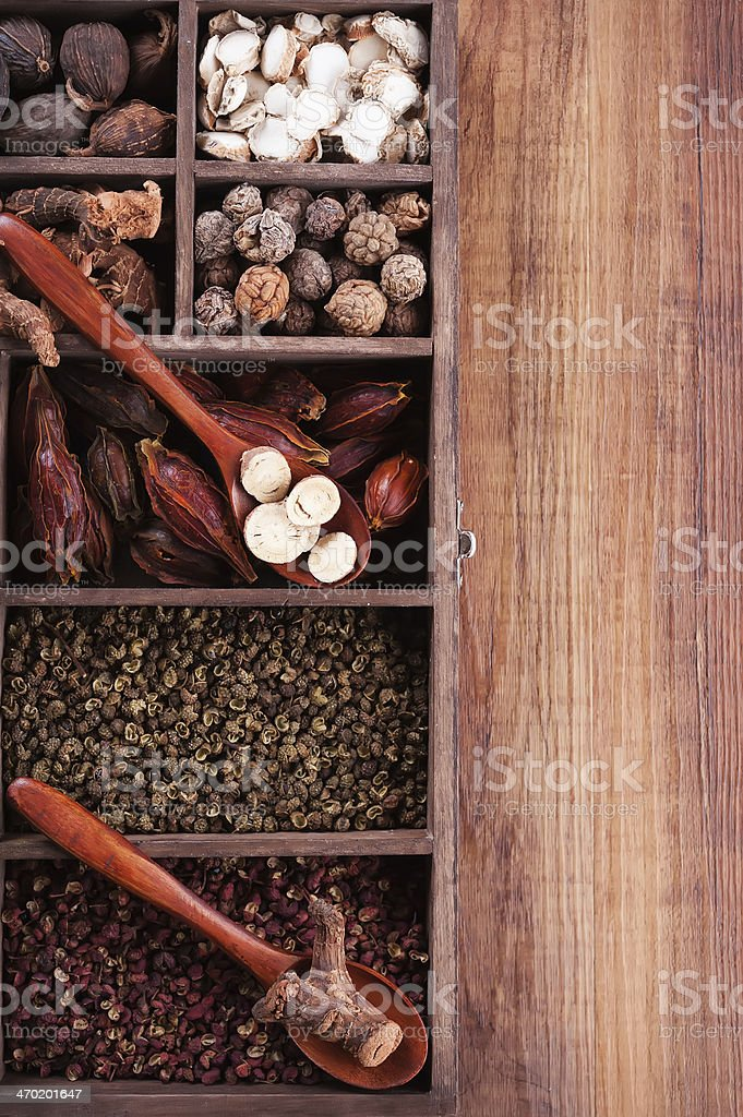 Authentic collection Chinese spices stock photo
