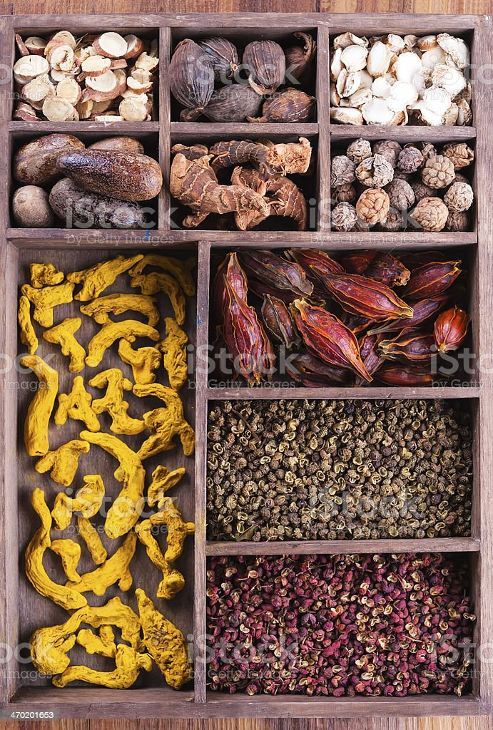 Authentic collection Chinese spices royalty-free stock photo