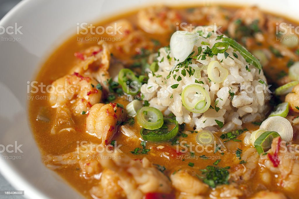 Authentic crawfish etoufee in a clean white dish stock photo