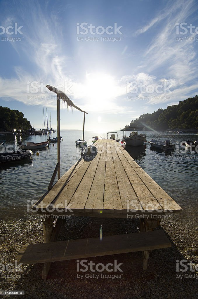 Authentic dock in a small fishing community royalty-free stock photo