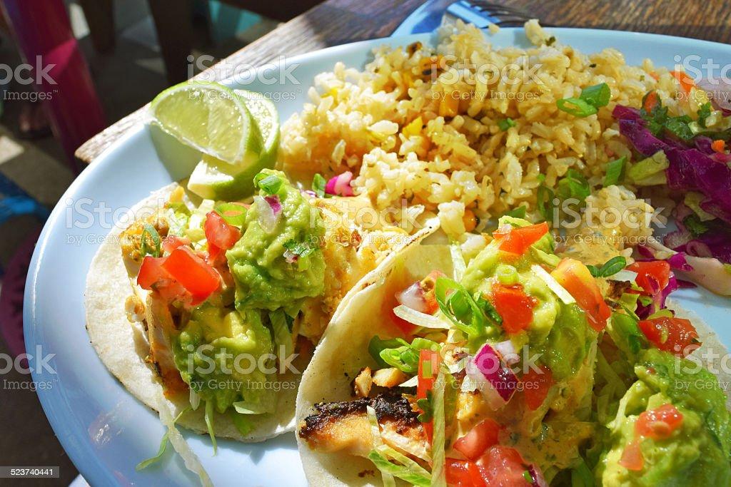 Authentic Fish Tacos stock photo