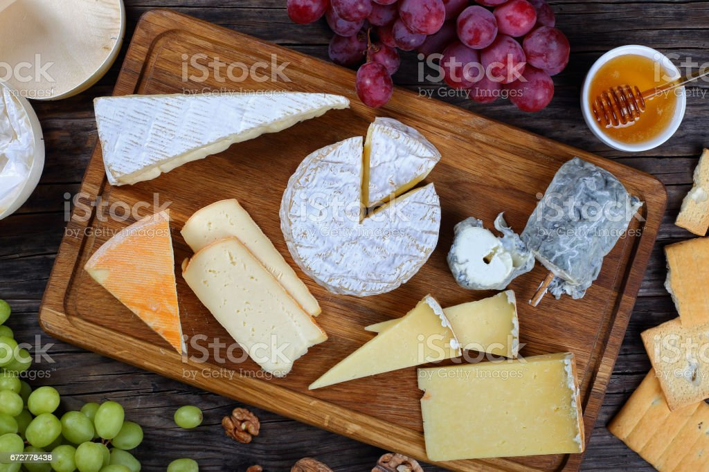 authentic french Cheeses, view from above stock photo