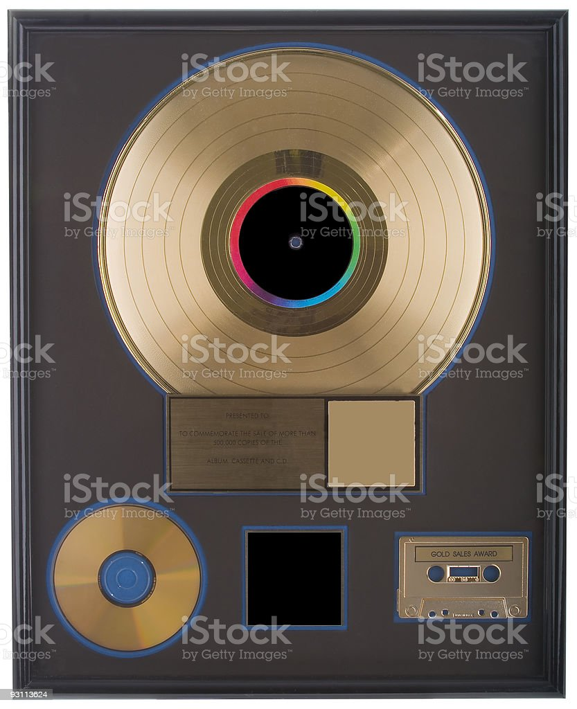 Authentic Gold Record with Blank Space stock photo