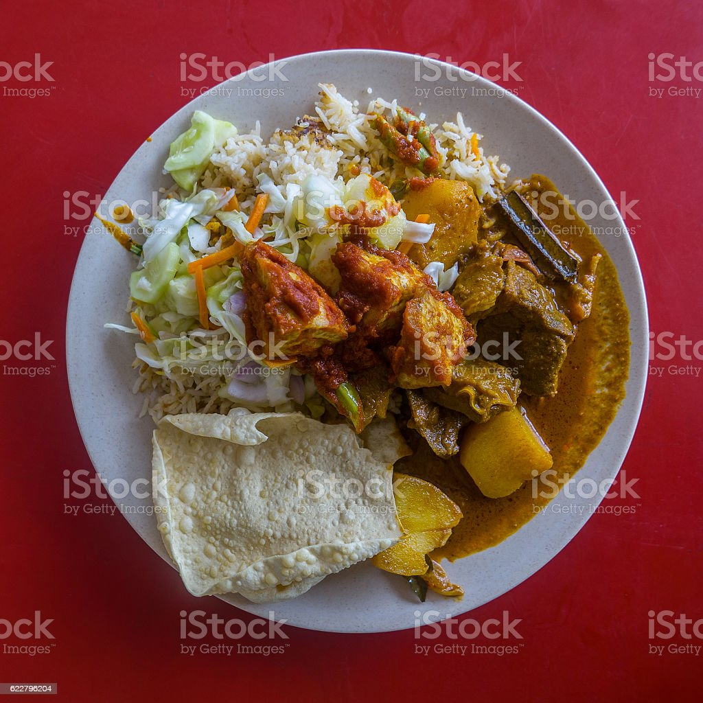 Authentic Indian food from family street restaurant in Malaysia. stock photo