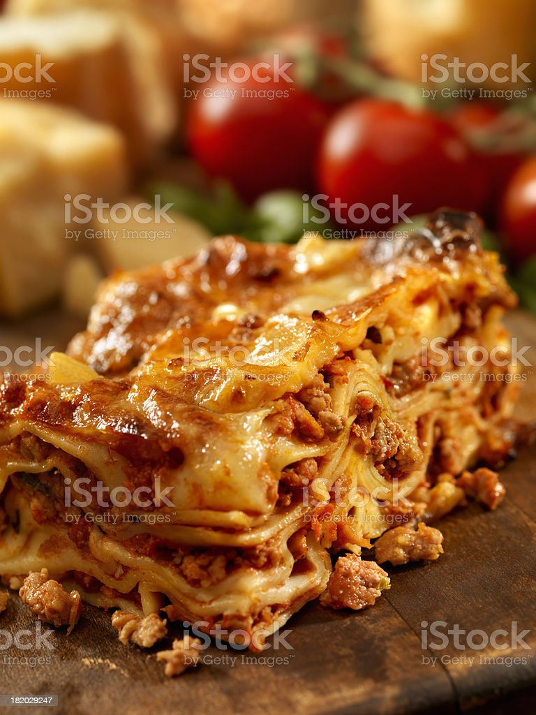 Authentic Italian Meat Lasagna stock photo
