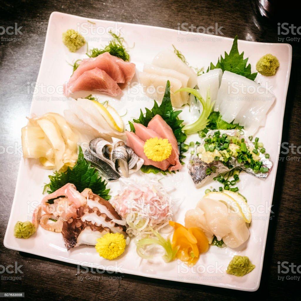 Authentic Japanese Sashimi Sushi Plate stock photo