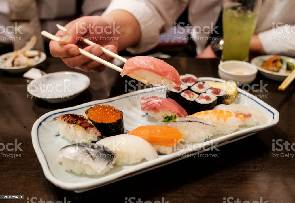 Authentic Japanese Sushi Plate stock photo