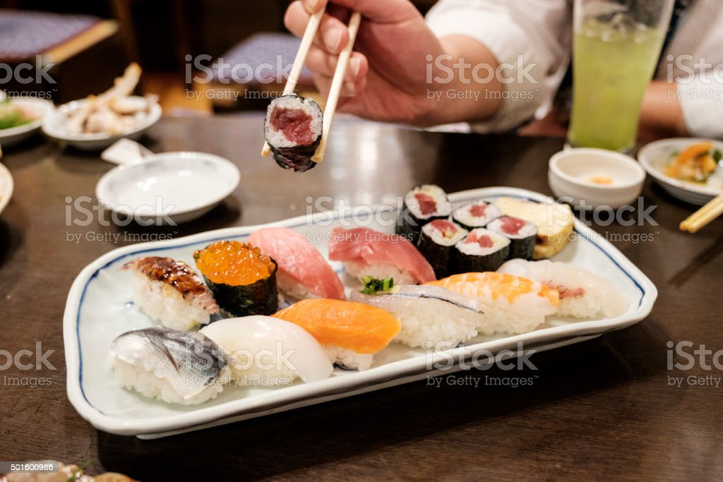 Authentic Japanese Sushi Plate stock photo