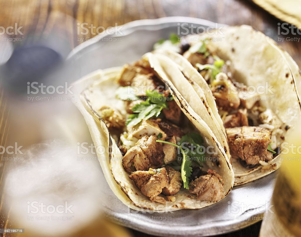 authentic mexican tacos with chicken and cilantro stock photo