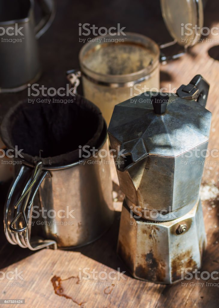 Authentic Moka pot coffeemaker with stainer stock photo