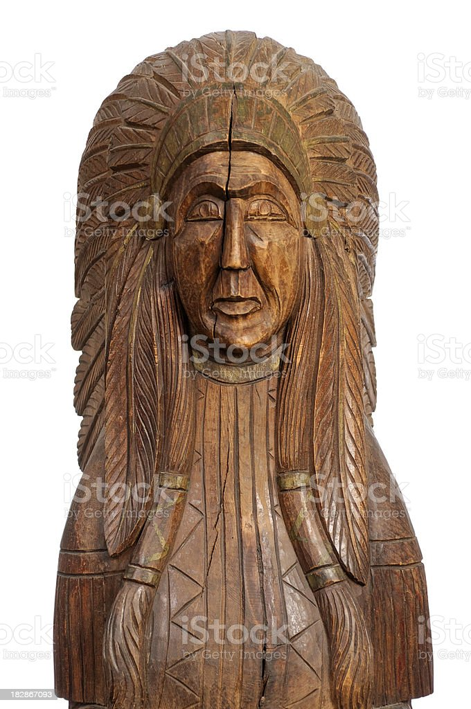 Authentic Old Cigar Store Indian Statue stock photo