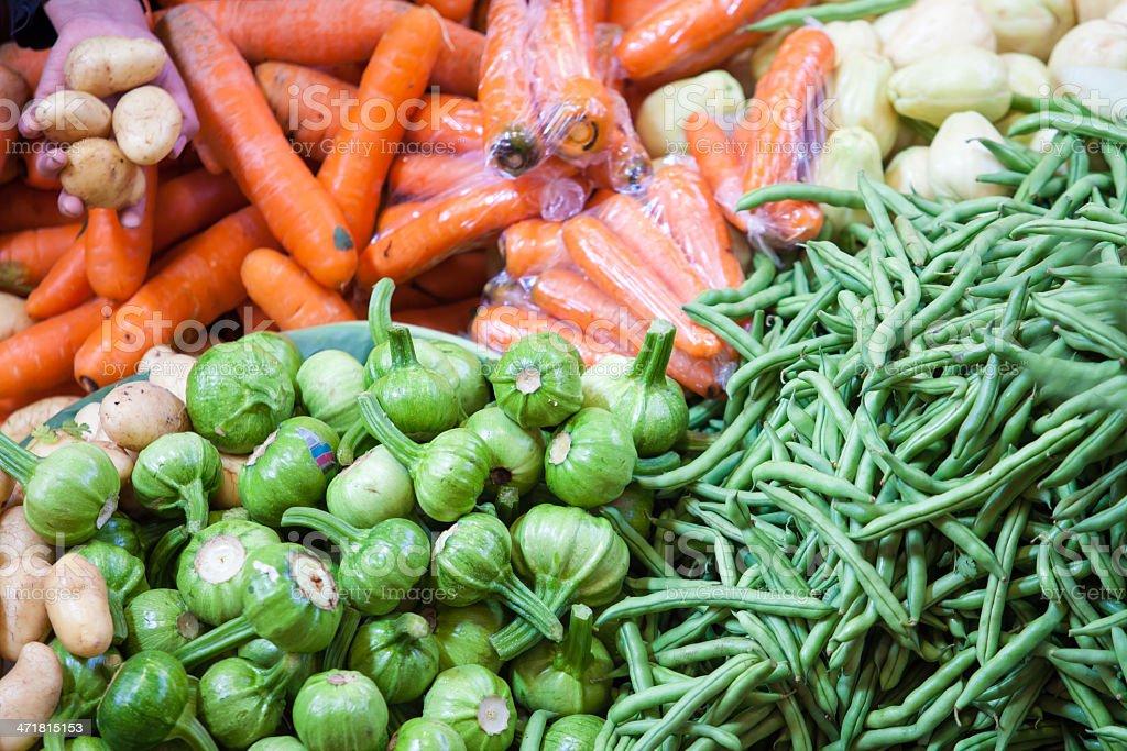 Authentic organic market in Chichicastenango (Chichi), Guatemala royalty-free stock photo