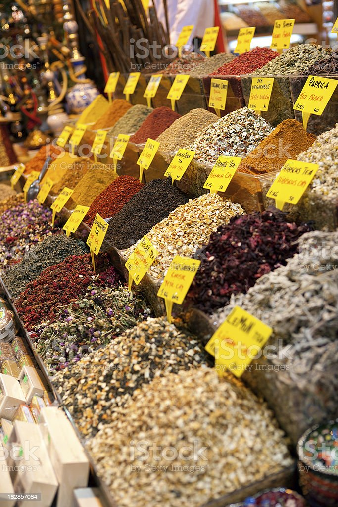 Authentic oriental spice shop in Grand Bazaar, Istanbul, Turkey royalty-free stock photo