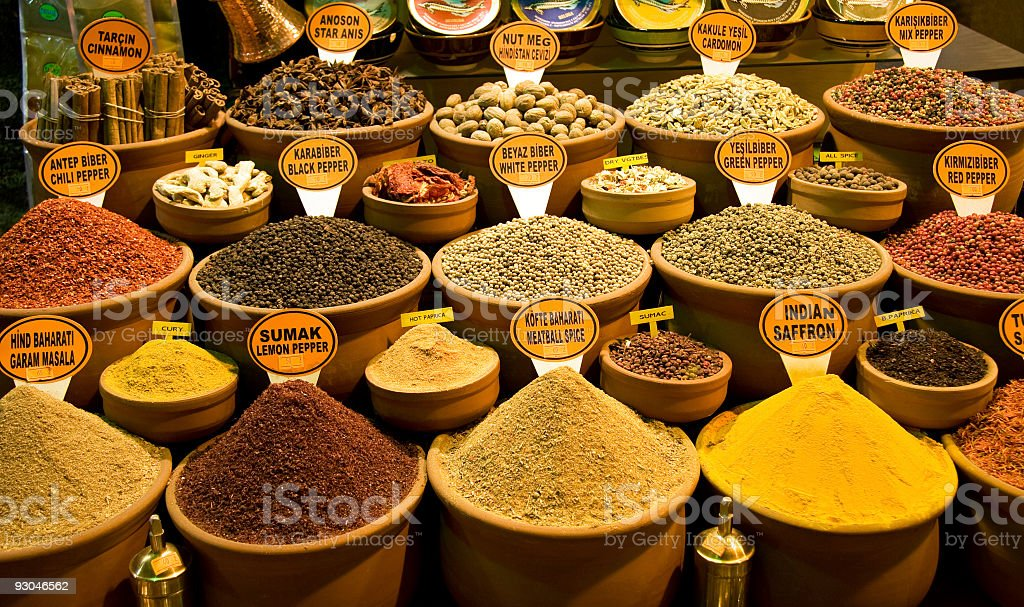 Authentic oriental spice shop in Grand Bazaar, Istanbul, Turkey stock photo