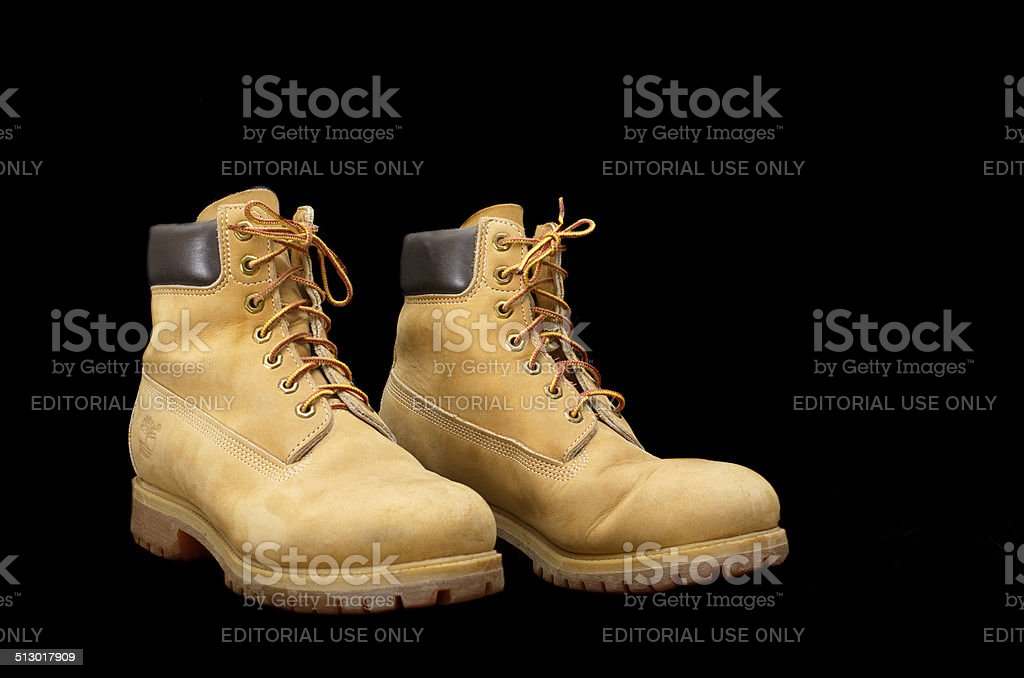 Authentic pair of 8 inch Timberland Yellow Work Boots stock photo
