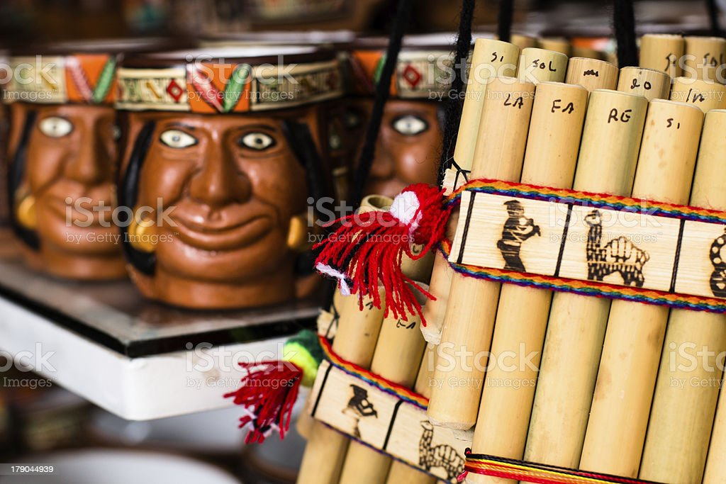Authentic south american panflutes  in local market Peru. stock photo