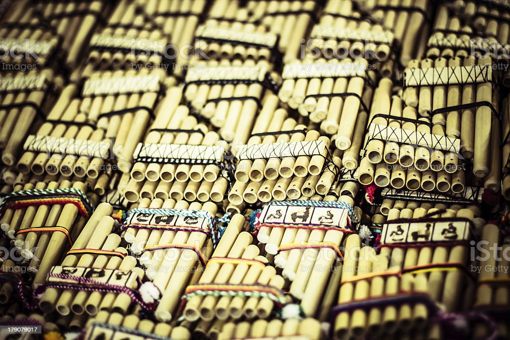 Authentic south american panflutes  in local market Peru. royalty-free stock photo