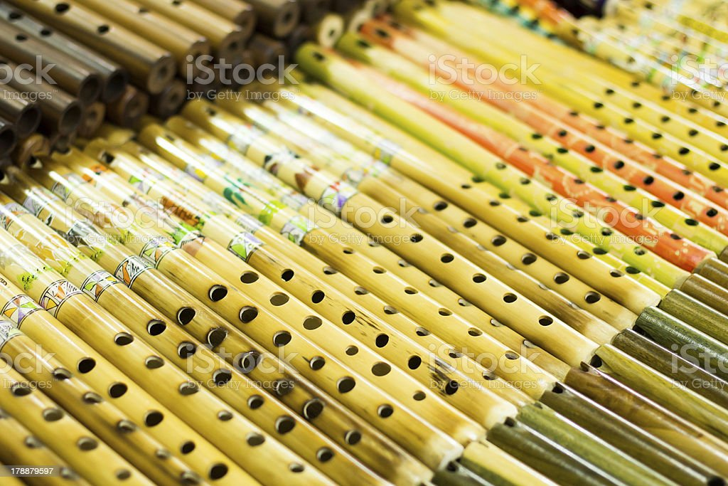 Authentic south american panflutes  in local market,Peru. royalty-free stock photo