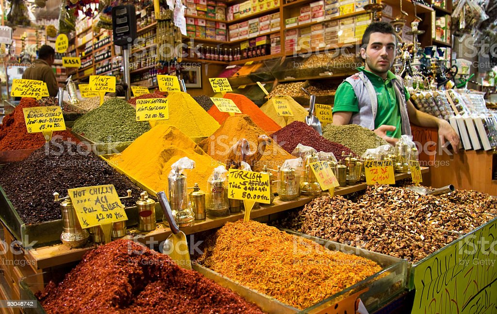 Authentic spice shop in Grand Bazaar, Istanbul, Turkey stock photo