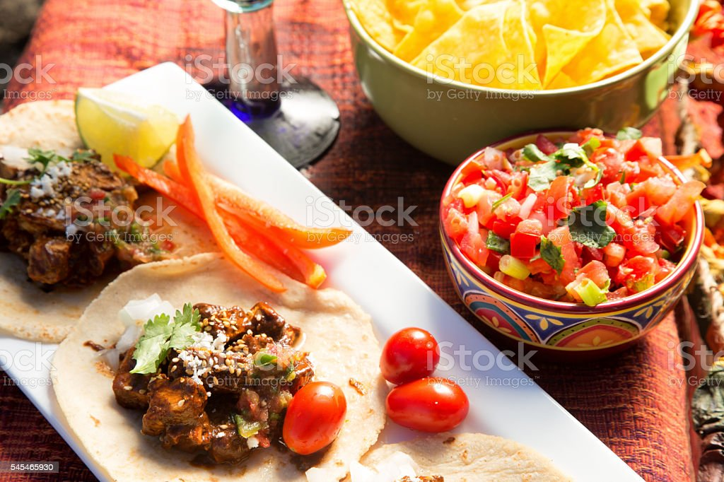 Authentic Street Tacos With Salsa And A Margarita stock photo