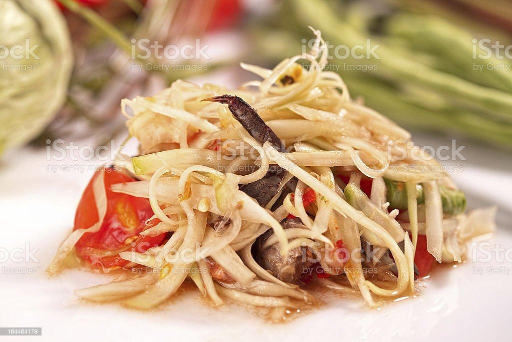 Authentic Thai Papaya salad with freshwater crab stock photo