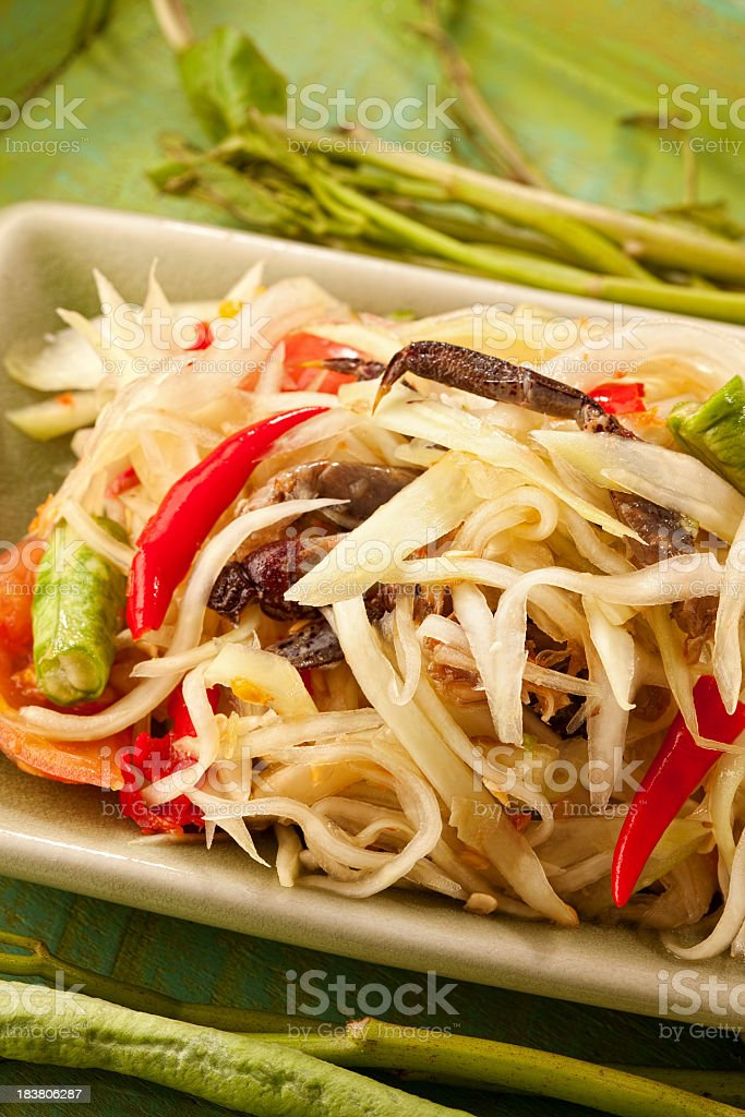 Authentic Thai Papaya salad with freshwater crab. royalty-free stock photo