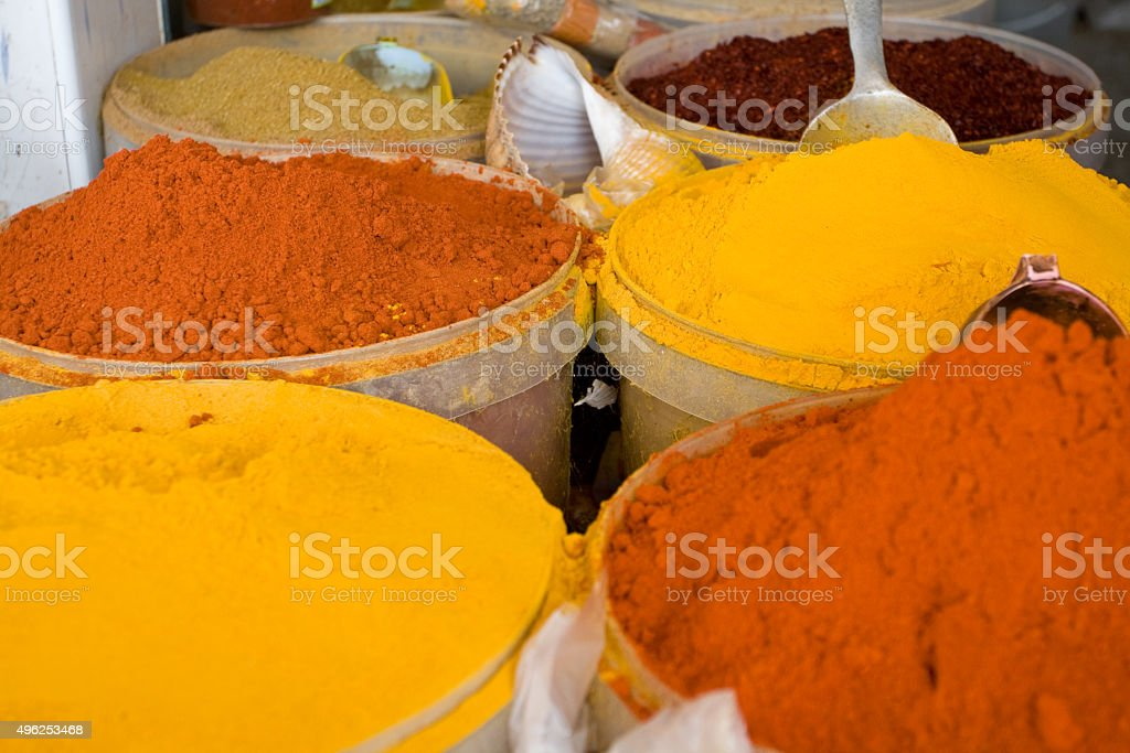 Authentic Tunisian spices at the market. Mahdiya, Tunisia, stock photo