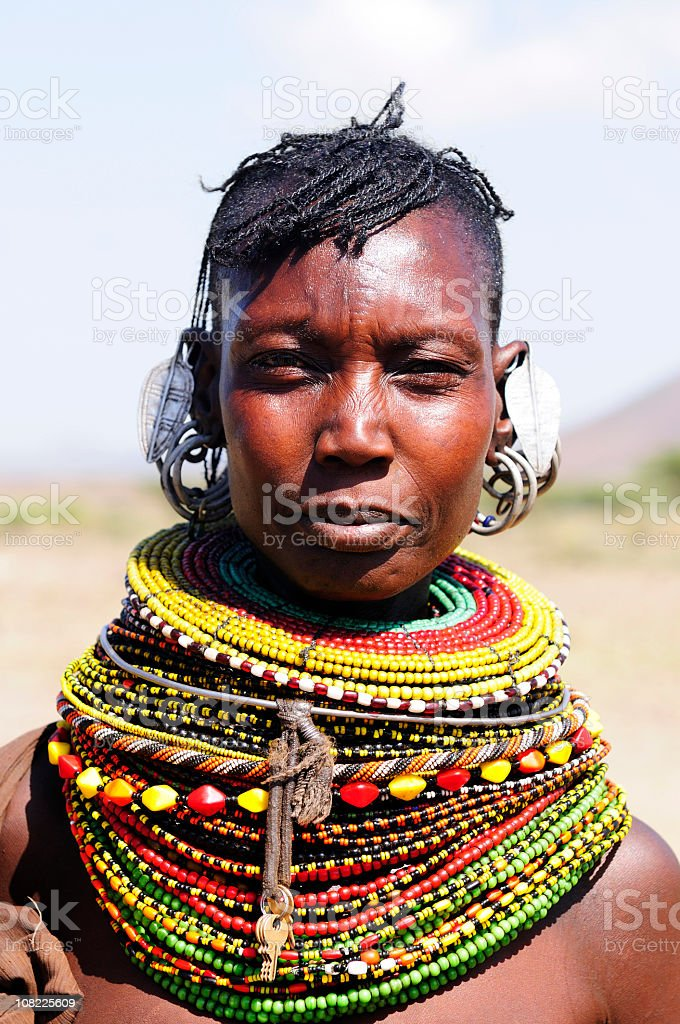 Authentic Turcana woman with colorful necklaces stock photo