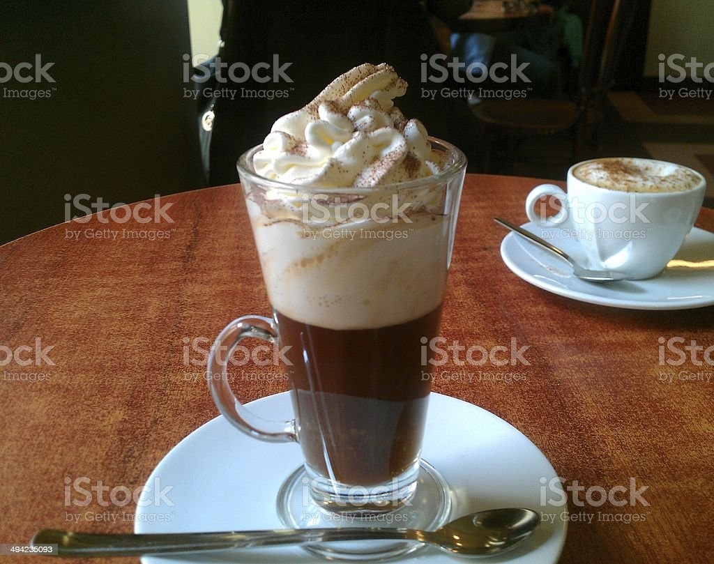 Authentic Viennese coffee with cream and cinnamon royalty-free stock photo