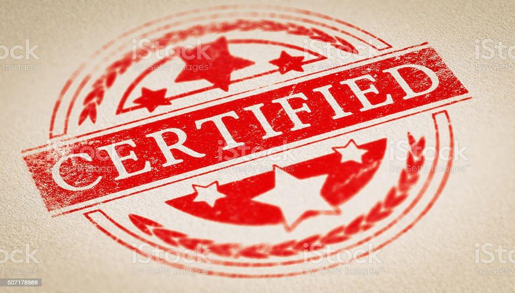 Authenticity Certificate stock photo