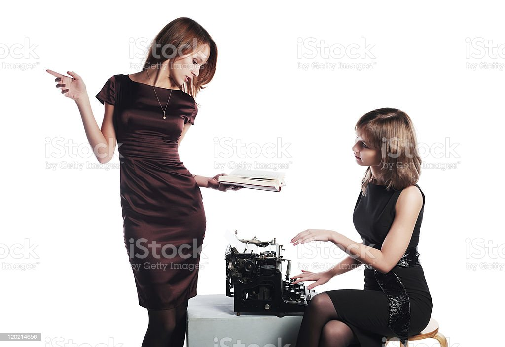 Author and typewriter royalty-free stock photo