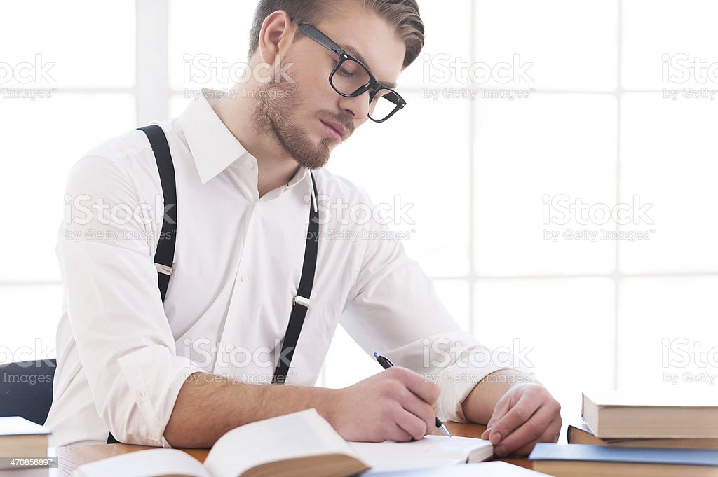Author at work. stock photo