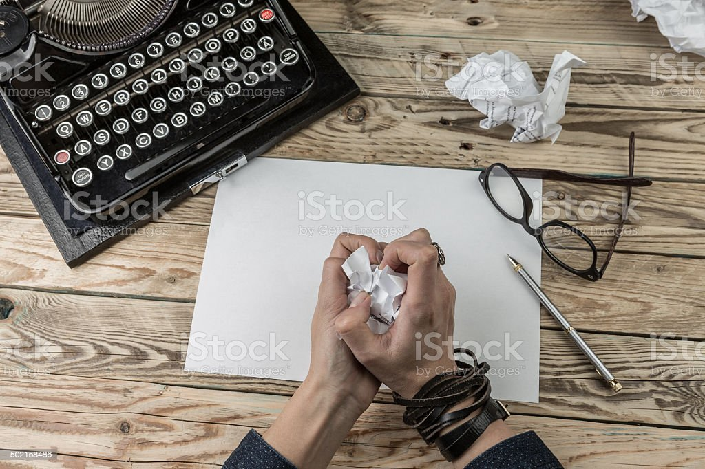 Author of crumpled paper. stock photo