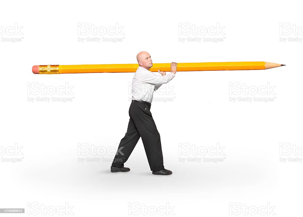 Author with pencil. stock photo