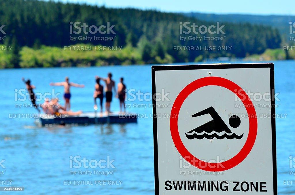 Authorise swimming zone stock photo