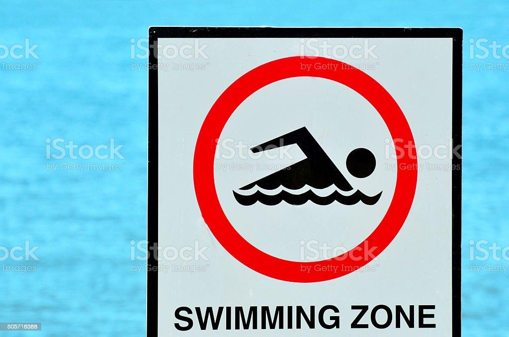 Authorise swimming zone sign stock photo