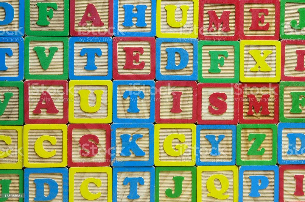 Autism Alphabet Blocks stock photo
