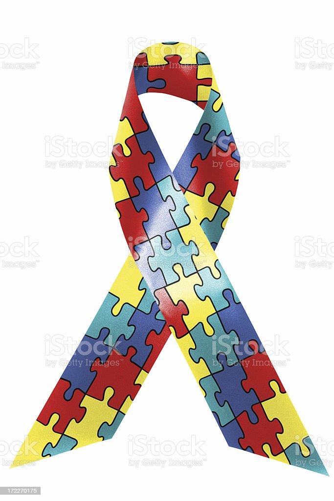 Autism awareness ribbon stock photo