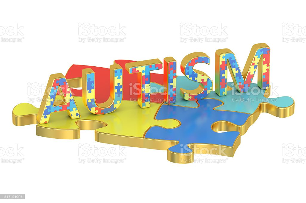 Autism concept with colored puzzles, 3D rendering stock photo