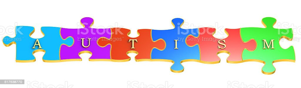 Autism concept with colour puzzles, 3D rendering stock photo