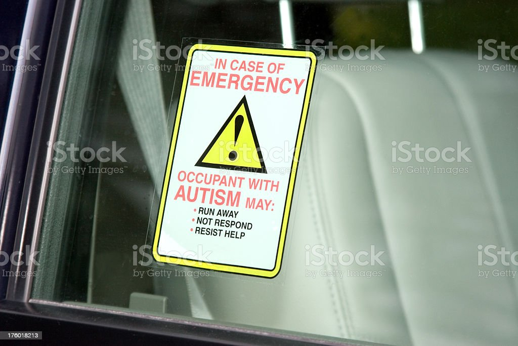 Autism Safety Decal stock photo
