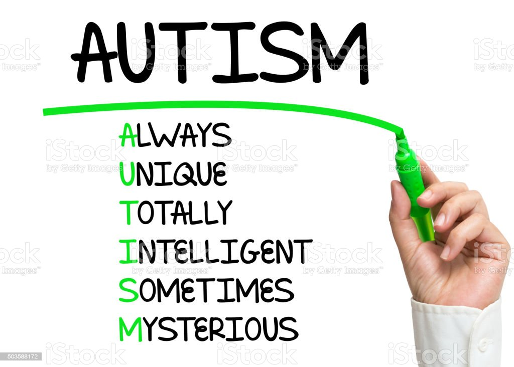 Autism words written by hand stock photo