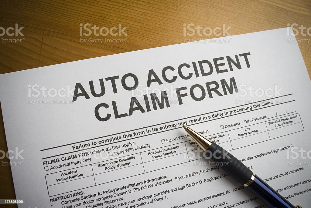 Auto Accident Claim Form royalty-free stock photo