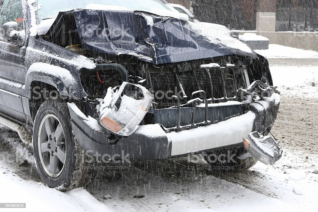 Auto Accident in Winter royalty-free stock photo